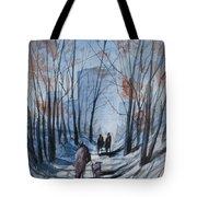 Dog Walking 2, Watercolor Painting Tote Bag