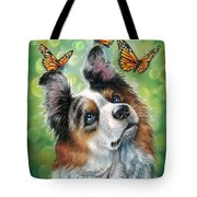 Dog With Butterflies Tote Bag