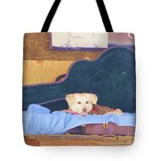 Doggy In The Guitar Case Tote Bag