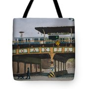Dogs And Trains In The Village Tote Bag