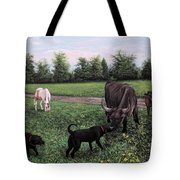 Dogs Meeting Bull Tote Bag