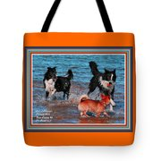 Dogs Playing On The Beach No. 2 L A With Decorative Ornate Printed Frame. Tote Bag