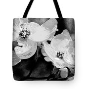 Dogwood Blossoms - Black And White Tote Bag