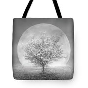 Dogwoods In The Moon Black And White Tote Bag