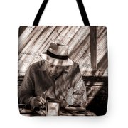Doing The Crossword Puzzle Tote Bag