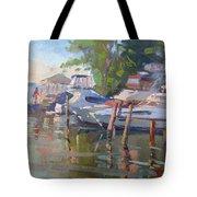 Docks At The Shores  Tote Bag