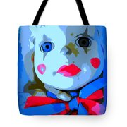 Doll In Blue Tote Bag