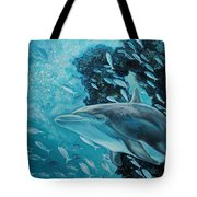 Dolphin With Small Fish Tote Bag