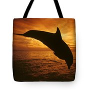 Dolphins And Sunset Tote Bag
