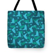 Dolphins In Blue  Tote Bag