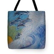 Dolphins Jumping In The Waves Tote Bag