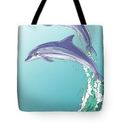 Dolphins Jumping Out Of The Water Tote Bag