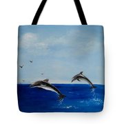 Dolphins Playing Tote Bag