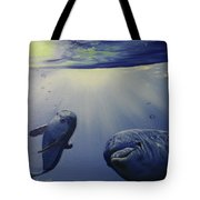 Dolphins Underwater Game Tote Bag