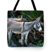 Donkey And Old Tractor Tote Bag