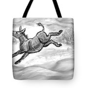 Donkey Frolicking In The Snow Tote Bag