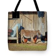 Donkey Goat And Chickens Tote Bag