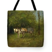 Donkey With Cart Tote Bag
