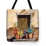 Door With Flower Pots Tote Bag