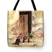 Door With Flowers Tote Bag