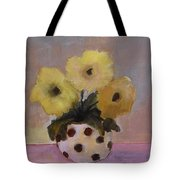 Dotted Vase With Yellow Flowers Tote Bag