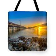 Double Bridge Sunrise - Tampa, Florida Tote Bag