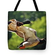 Double Green Heads In Flight Tote Bag