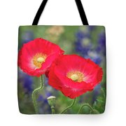 Double Take-two Red Poppies. Tote Bag