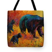 Double Trouble - Black Bear Family Tote Bag by Marion Rose