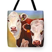 Double Trouble Hereford Cows Tote Bag