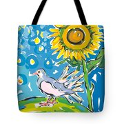 Dove And Sunflower Tote Bag