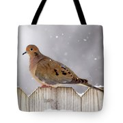 Dove In The Snow Tote Bag