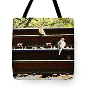 Doves On The Tracks Tote Bag