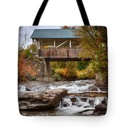 Down The Road To Greenbanks's Hollow Covered Bridge Tote Bag