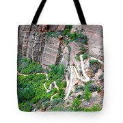 Downhill Switchbacks From Angels Landing Tote Bag