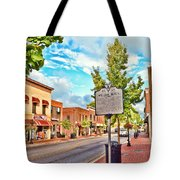 Downtown Blacksburg With Historical Marker Tote Bag