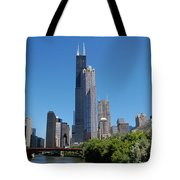 Downtown Chicago Skyline - View Along The River Tote Bag