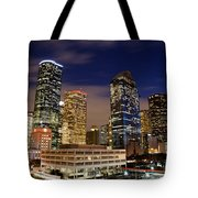 Downtown Houston At Night Tote Bag by Olivier Steiner