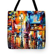 Downtown Lights - Palette Knife Oil Painting On Canvas By Leonid Afremov Tote Bag