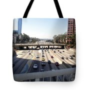 Downtown Los Angeles. 110 Freeway And Wilshire Bl Tote Bag