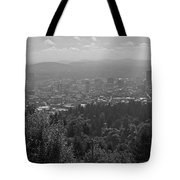 Downtown Portland Black And White Tote Bag
