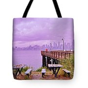 Downtown Seattle As Seen From Alki Beach Tote Bag