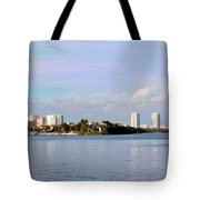 Downtown Tampa With Cruise Ship Tote Bag