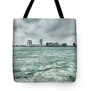 Downtown Windsor Canada City Skyline Across River In Spring Wint Tote Bag