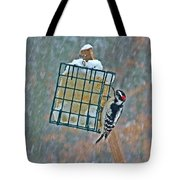 Downy Woodpecker In The Snow Tote Bag