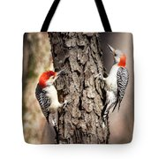 Downy Woodpeckers Tote Bag