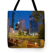 Dowtown Houston By Night Tote Bag