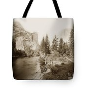 Domes And Royal Arches From Merced River Yosemite Valley Calif. Circa 1890 Tote Bag