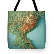 Dpr Korea 3d Render Topographic Map Border Tote Bag