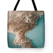 Dpr Korea 3d Render Topographic Map Neutral Border Tote Bag